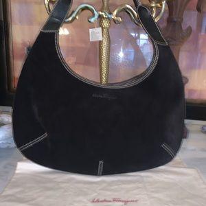 Salvatore Ferragamo black suede and leather bag 🌹